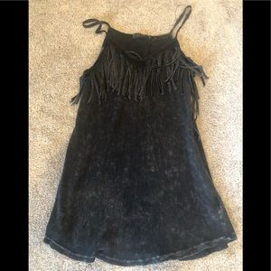 Over dyed spaghetti strap fringe tank top!! Sz s!